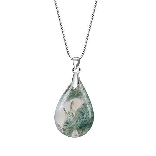 coai Geschenkideen Damen 925 Sterling Silber Kette mit Wassertropfen Anhänger aus Moosachat Amulett Halskette Box Chain Kette