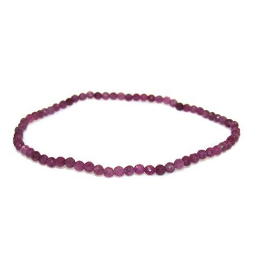 samaki - Rubin Edelstein Heilstein Armband, Edelsteine rot lila 2 mm, Begeisterung