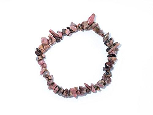 Taddart Minerals - Rosa schwarzes Splitter Armband aus dem natürlichen Edelstein Rhodonit auf elastischem Nylonfaden aufgezogen - handgefertigt