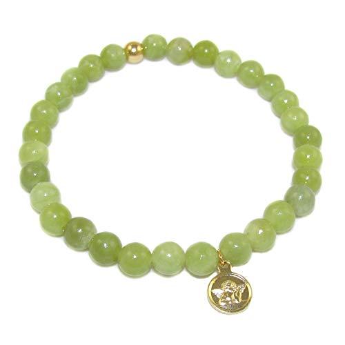 samaki - Jade Serpentin Schutzengel Karma Edelstein Heilstein Armband, liebevoll behütet