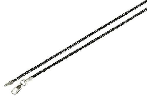 Criss-Cross-Kette aus 925 Sterling Silber geschwärzt diamantiert außergewöhnliches Geflecht SILBERMOOS Qualitätskette aus Italien 42 45 50 60 70 80 90 cm, Länge:45 cm