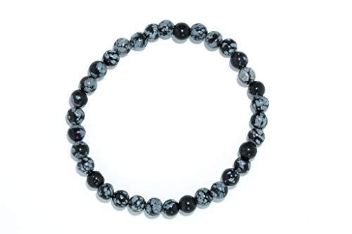 Taddart Minerals – Schwarzes Armband aus dem natürlichen Edelstein Schneeflocken-Obsidian mit 6 mm Kugeln auf elastischem Nylonfaden aufgezogen - handgefertigt