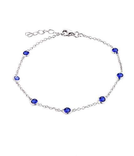 JO WISDOM Damen Armband Bead Silber 925 mit AAA Zirkonia September Geburtsstein Saphir Farbe Fußkettchen