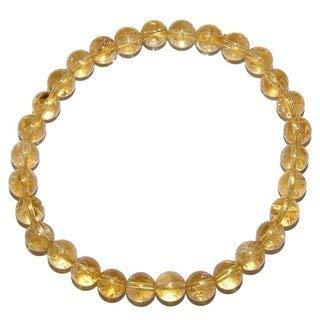 Edelstein 6mm Kugel Power Energie Perlen Armband auf Stretchband in vielen verschiedenen Steinarten wählbar (Citrin - Amethyst gebrannt)