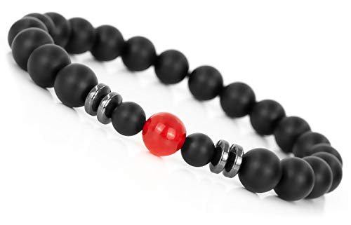 Mister Boncuk ® Chakra Perlenarmband aus Achat Natursteinen - Unisex Armbänder für Freizeit Yoga Meditation - Energie Heilstein Armbänder für Damen und Herren (Rote Jade 18cm)