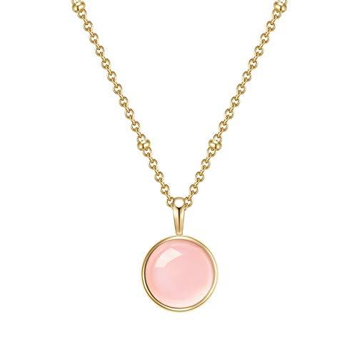 Glanzstücke Damen-Kette Sterling Silber gelbgold mit Anhänger Rosen-quarz rosa Länge 40 cm + Verlängerung 5 cm - Edelsteinkette für Frauen Heilsteine Rosen-Quartz