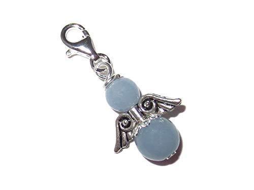 Engel Charm-Anhänger mit Angelit Perlen 925 Silber Handarbeit