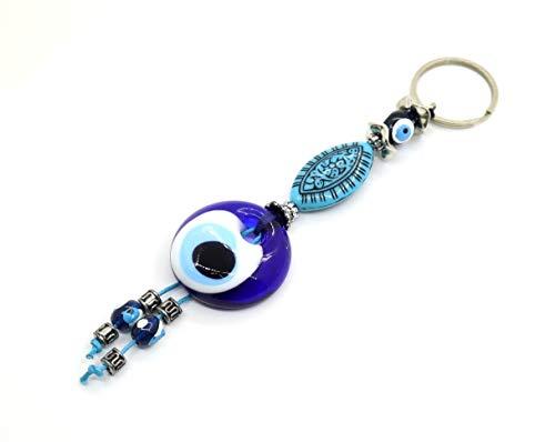Schlüsselanhänger Nazar Boncuk Anahtarlık mit Glasperlen Handgemacht Böser Blick Glücksbringer Talisman Türkisches Blaues Auge, Evil Eyes (Model - 6)