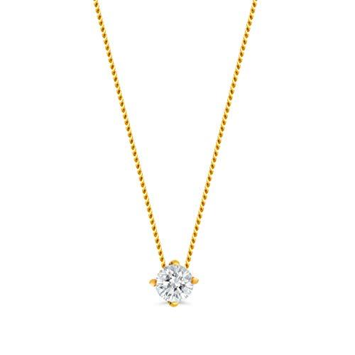 Orovi Damen Kette Gelbgold 0.15 Ct Diamant Halskette mit Anhänger Solitär Diamant Brillant 14 Karat (585) Gold, 45 cm Lang Halskette Handgemacht in Italien