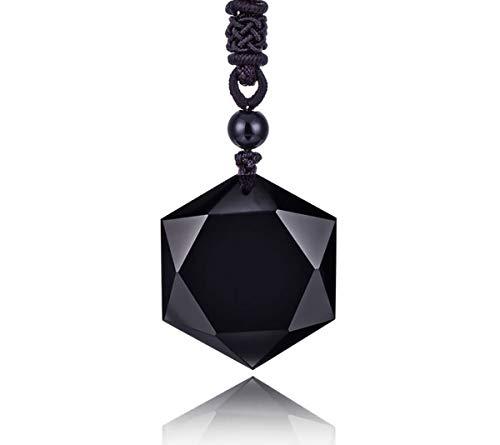 Thajaling Mens Womens Heilung Schwarz Obsidian Steine Amulett Stern David Hexagramm Anhänger Halskette