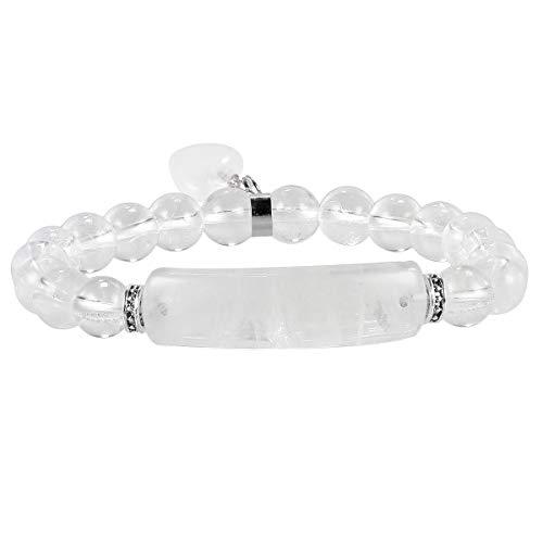 KYEYGWO 8mm Kristall Stein Perlen Armband für Unisex, elastisches Chakra Armband mit Herzform Anhänger für Yoga Reiki