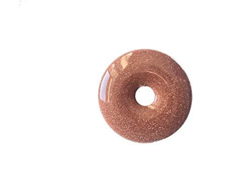 Anhänger Kette Goldfluss Donut gebort 40mm mit Lederband Edelstein Heilstein Gold Rot Giltzer