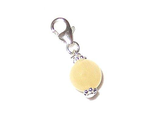Charm Anhänger mit Edelstein-Perle echt Silber mit Orangencalcit Kugel für Solarplexus Handgefertigt