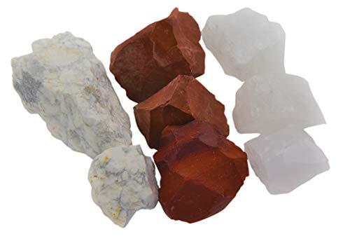 Heilsteine & Edelsteinmischung (250g) - Magnesit, Bergkristall und Roter Jaspis - Fit & Schlank durch Wassersteine