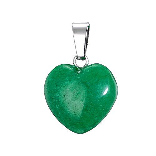 aqasha Achat grün Herzkette Damen- Anhänger Halskette - Schmuck der Liebe Herzform - Edelstein (1,6x1,6 cm)