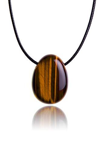 PURAJA Edelstein Anhänger aus echtem Naturstein: Tigerauge | Halskette mit Tropfenstein / Trommelstein inkl. hochwertigem Kordband