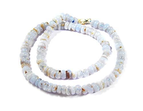 Heilstein Halskette aus Chalcedon in Buttonform Ø-8 mm 925er Silber Verschluss