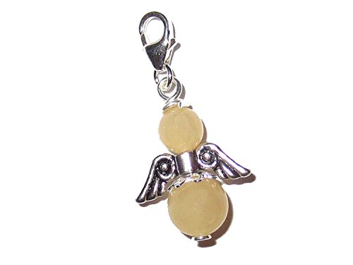 Engel Charm echt Silber Edelstein-Perlen Calcit orange Schutzengel Anhänger handgemacht EC92551