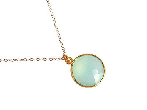 Gemshine - Damen - Halskette - 925 Silber - Vergoldet - Chalcedon - Grün - CANDY - 45 cm