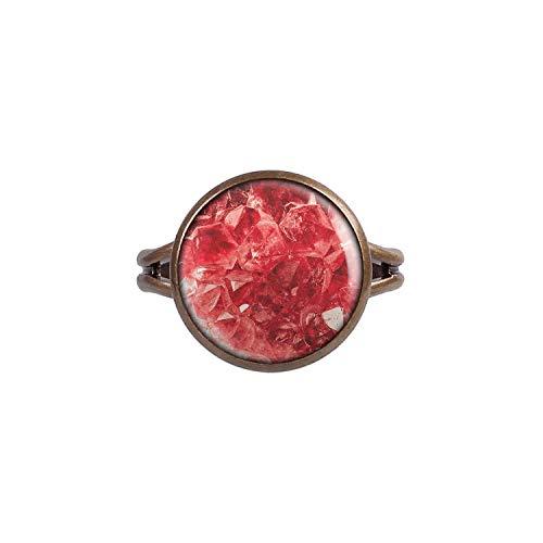 Mylery Ring mit Motiv Heil-Stein Kraft-Stein Kristall Edelstein Rubin Rot Unecht Fake Bronze 14mm