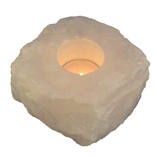 Bergkristall Rohstein Teelichthalter groß   Kristall Edelstein Teelicht Kerzenhalter   Echter Bergkristall Naturstein mit Einer Bohrung für eine Teelichtkerze   Heilstein und Deko