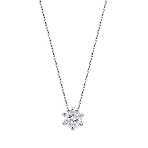 Orovi Damen Kette Weißgold 0.15 Ct Diamant Halskette mit Anhänger Solitär Diamant Brillant 14 Karat (585) Gold, 45 cm Lang Halskette Handgemacht in Italien