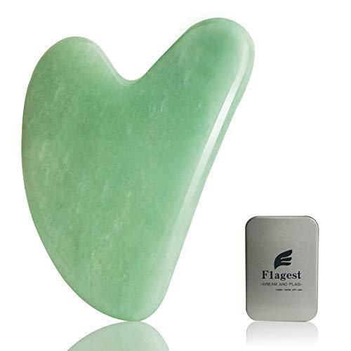 Gua Sha Gesichtsbehandlung mit Jade Natur-Stein Herzform Guasha Board Kratz-Massage Tool Anti-Falten Werkzeug für Gesichts-Scraping SPA-Akupunktur Therapie Triggerpunkt Anti-Aging
