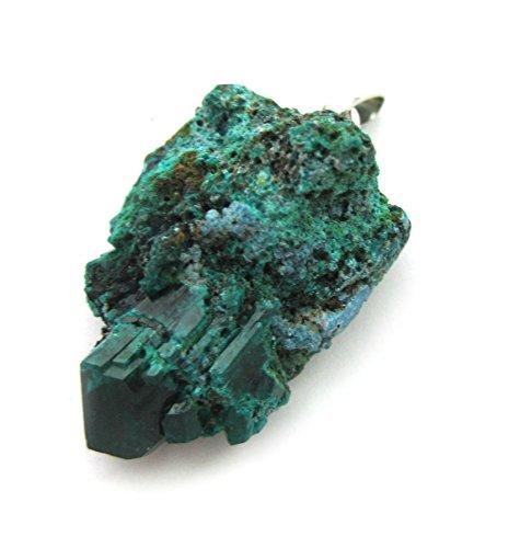 Rohstein-Anhänger Dioptas Kristallgruppe 2-3 cm mit 925er Silber-Öse