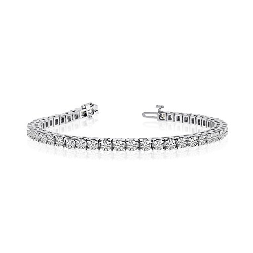 LXR 14k Weißgold 6 Ct. Classic Diamant Tennis Armband 6 ct