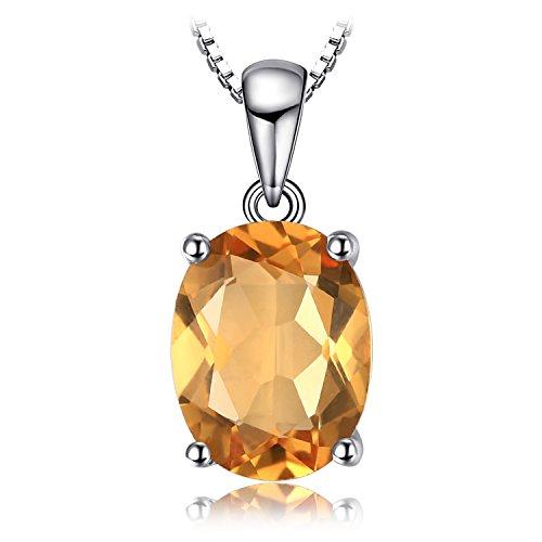 JewelryPalace Oval 1.7ct Natürliche Citrin Birthstone Solitaire Anhänger Halskette Solid 925 Sterling Silber 45 Cm