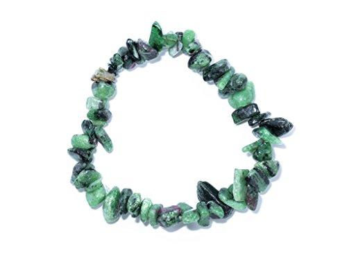 Taddart Minerals – Rot Grünes Splitter Armband aus dem natürlichen Edelstein Rubin-Zoisit auf elastischem Nylonfaden aufgezogen - handgefertigt