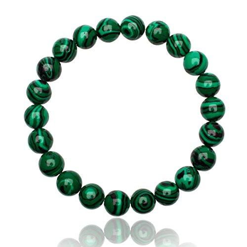 Unique Chakra Buddha Perlen Armband 8mm Malachit Edelstein Energiearmband Heilsteine dehnbar Unisex Juweliers Qualität