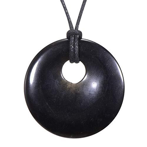 Morella Damen-Halskette 80 cm mit rundem Edelstein Anhänger schwarzer Obsidian im Samtbeutel
