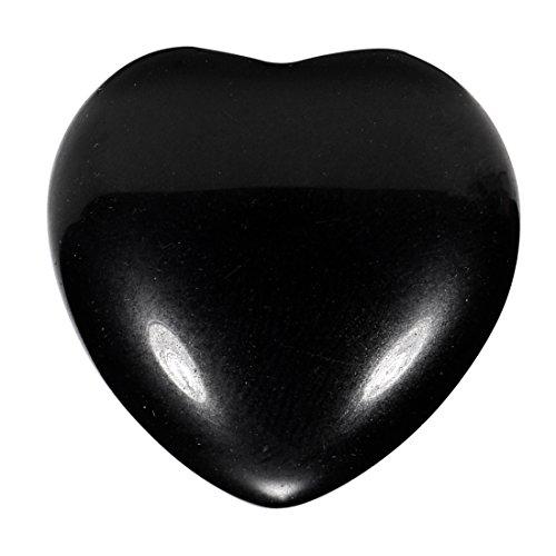Morella Edelstein schwarzer Obsidian Herz Glücksbringer Steinherz zum Mitnehmen 3 cm in Samtbeutel