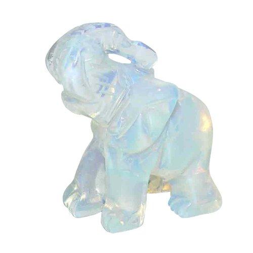 Opalith (Glas, synthetisch) Elefant ca. 30 x43 mm mit Rüssel nach oben Glücksbringer.(3184)