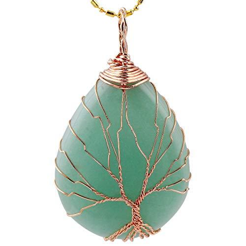 KYEYGWO Baum des Lebens Stein Anhänger Halskette für Unisex, Wire Wrap Teardrop Anhänger mit Kette 22', Grüner Aventurin