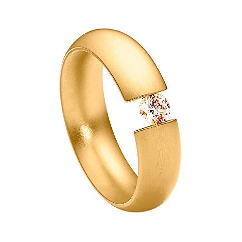Heideman Ring Damen Intensio aus Edelstahl gold farbend matt Damenring für Frauen mit Stein Zirkonia braun im Brillant Schliff 4mm