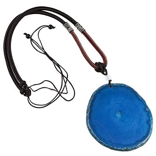 KYEYGWO Achat Anhänger Halskette Reiki Amulett Heilung Kristallstein Anhänger mit Einstellbarer Nylonschnur, 17.3'-29.9'