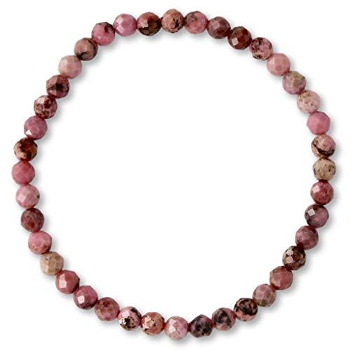 Taddart Minerals - Rosa schwarzes Armband aus dem natürlichen Edelstein Rhodonit mit facettierten 4 mm Kugeln auf elastischem Nylonfaden aufgezogen - handgefertigt