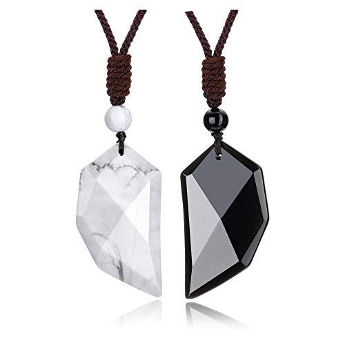 CrystalTears Halskette Edelstein Wolfszahn Anhänger mit Verstellbarer Kette Yoga Energietherapie Reiki Heilstein Halskette für Damen Herren (Obsidian+ Weißer Howlite)