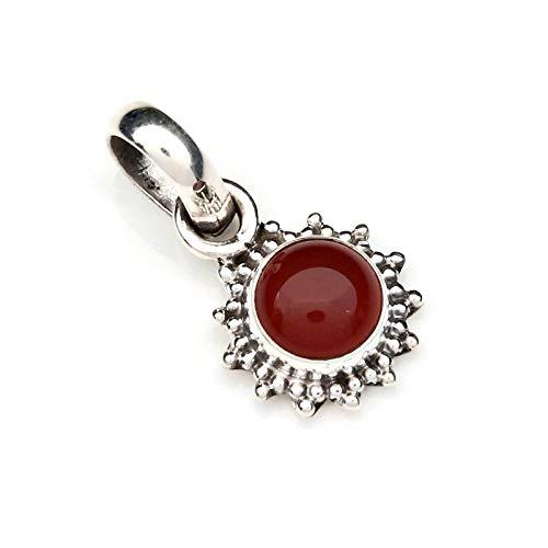 Kettenanhänger Amulett Silber 925 Sterlingsilber Karneol orange rot Stein (Nr: MAH 126-16)