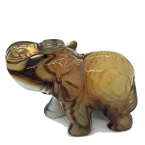 Achat (Streifenachat) Elefant ca. 5 cm | Edelstein Tier aus Natur-Stein | Glückssymbol Elefanten-Figur/Statute | Heilstein, Glücksbringer, Geschenk, Talisman, Feng-Shui und Deko