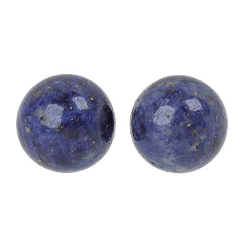 ELEDORO PowerBead Damen Ohrstecker aus 925 Sterling Silber mit Dumortierit blau Perlen 8mm