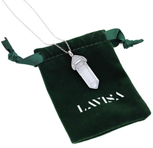 LAVISA Obelisk Halskette - Luxuriöse Edelsteinkette, Anhänger, Halskette, intensive Farben, Rosenquarz, Amethyst, Kette (Bergkristall) - 55 + 5 cm