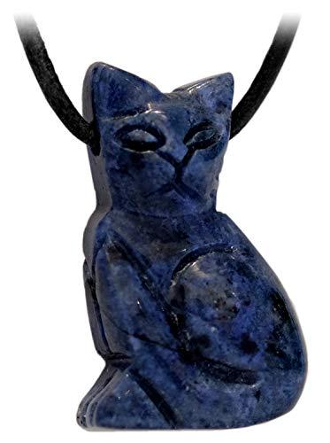 Kaltner Präsente Geschenkidee - Lederkette für Damen und Herren mit Edelstein Tier Anhänger Katze Dumortierit Blau (30 x 20 mm)