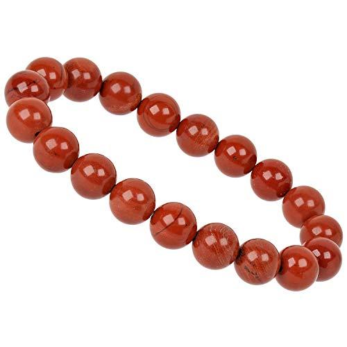 ELEDORO PowerBead Damen-Armband Stretch aus Edelstein Perlen 10mm Jaspis rot