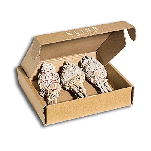 ELIXR Weißer Salbei zum Räuchern aus Wildsammlung I Räucherbündel 3 Stck. ca. 10 cm I Salbei räuchern, Weisser Salbei, White Sage, Räucherset