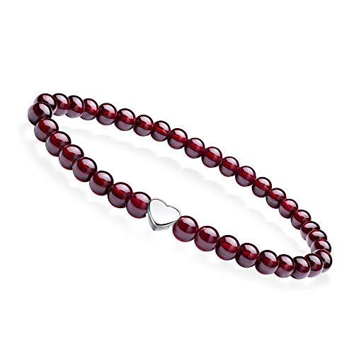 J.Endéar Naturedelstein Armband 5mm Granat Perlen Stretch Armband mit 925 Silber Herz Anhänger und Geschenktüte