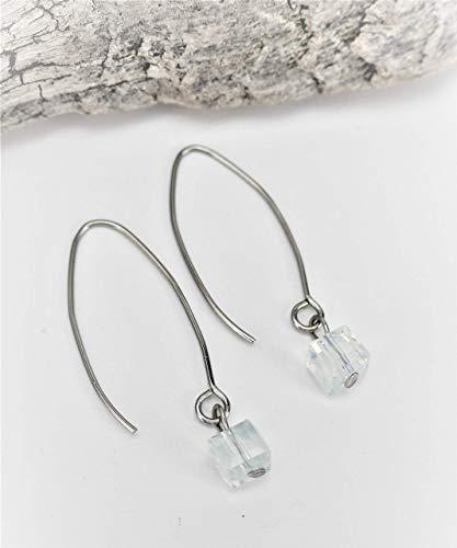 Handgemachte Opalith Perlen Ohrringe/Ohrhänger aus Edelstahl, Edelstein, Heilstein