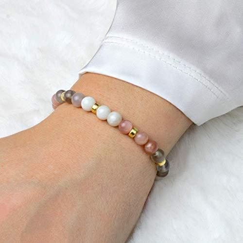 Echtes Mondstein Armband Damen, elastisch, 925 Silber oder vergoldet, perfekte Geschenk-Idee zum Muttertag
